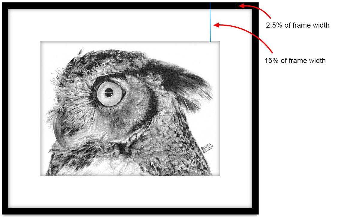 Framed and Matted Horned Owl by Lauren Ellis, Annotated