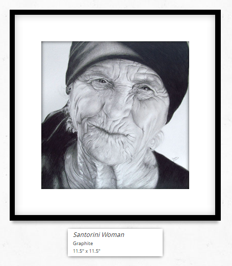 Santorini Woman Framed and Matted